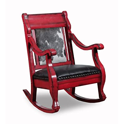 Country Road Barnyard Red Rocker Style # 2002RBYR Features Black and White  Cowhide with Black Leather - Amazon.com: ACME Furniture 59388 Sharan Rocking Chair, Antique White