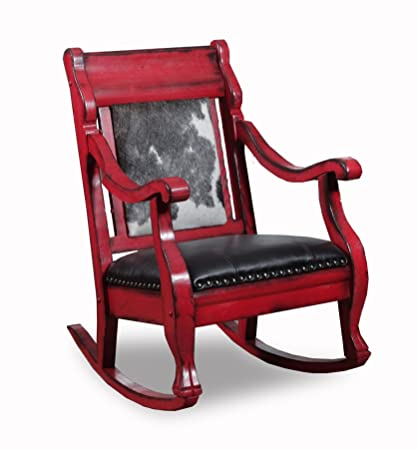 Country Road Barnyard Red Rocker Style # 2002RBYR Features Black And White  Cowhide With Black Leather