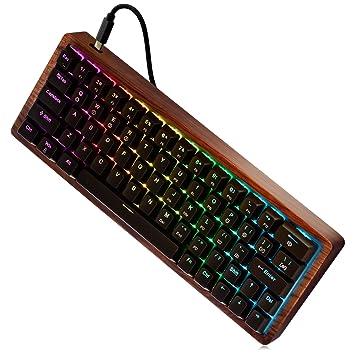 64 Teclas Teclado mecánico Gaming (Cherry MX Red, Retroiluminación RGB, Resistente al Polvo