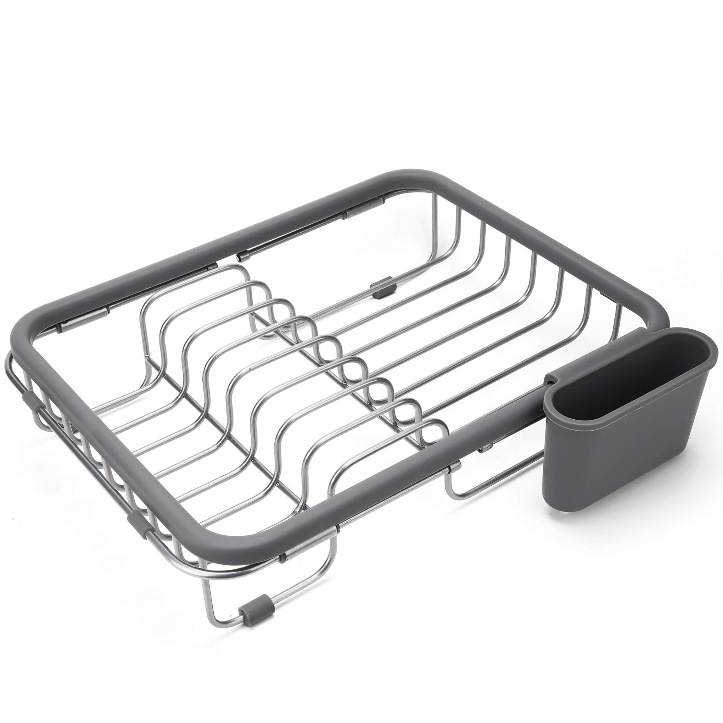 Expandable Dish Draining Rack - Over the Sink Dish Drainer, Dish Rack In Sink Or On Counter With Utensil Holder