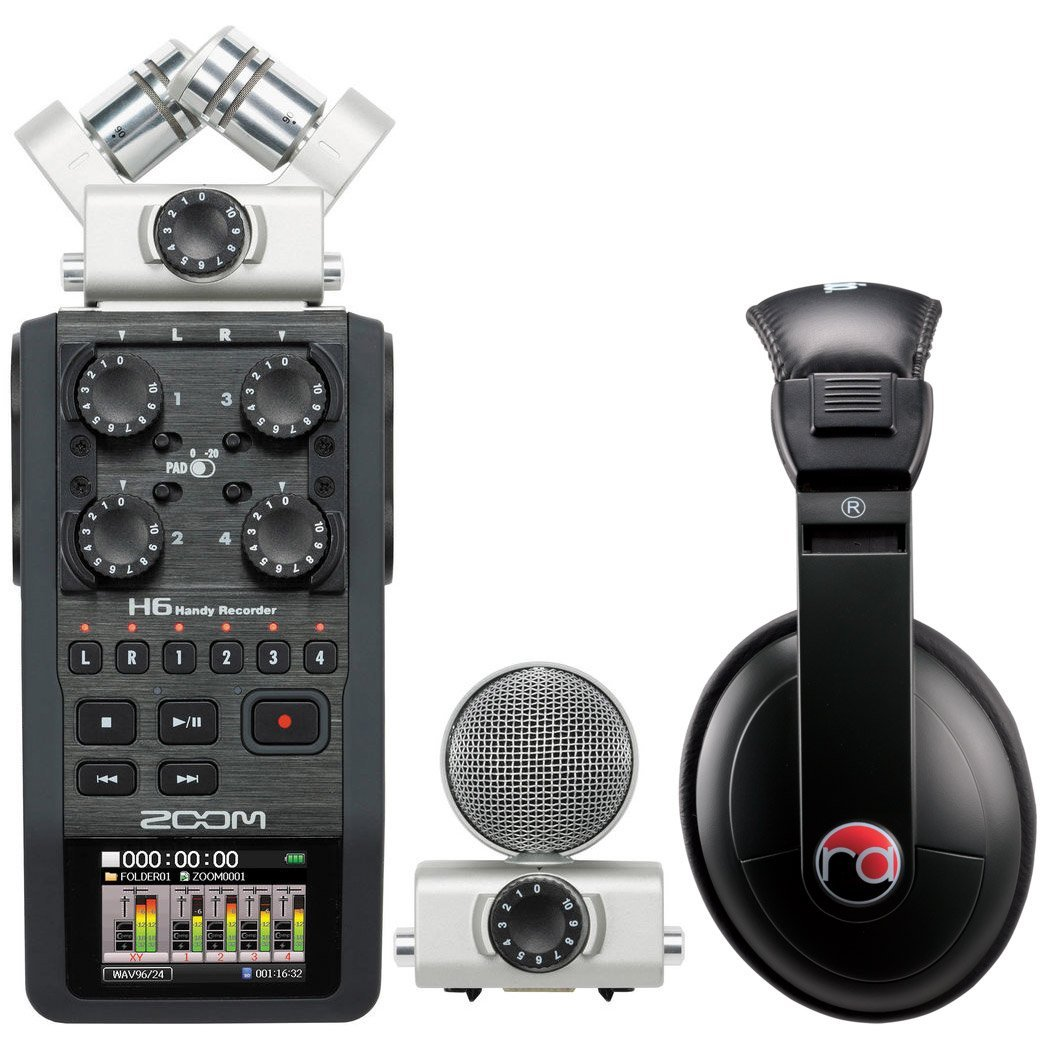 Zoom H6 Six-Track Portable Recorder w/ Resident Audio R100 Headphones - Bundle