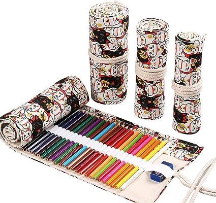 Estuche para lápices de gran capacidad, hecho a mano, de lona, con capacidad de 12,72 agujeros, gran capacidad, para dibujar o dibujar con plomo, diseño de gato de la suerte, 24 agujeros: