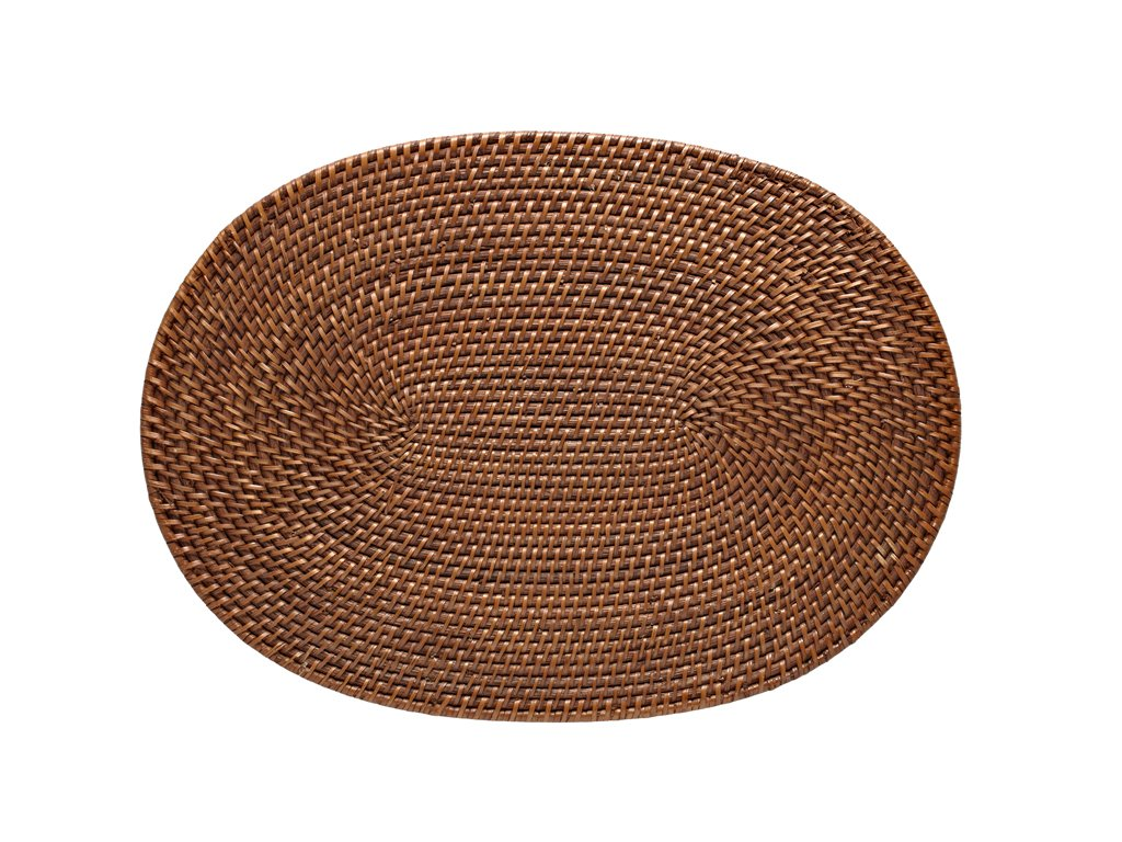 Honey Brown Oval Rattan Placemats Set of 2 - ChristmasTablescapeDecor.com