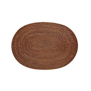 KOUBOO Oval Rattan Placemat, Honey Brown, Set of 2