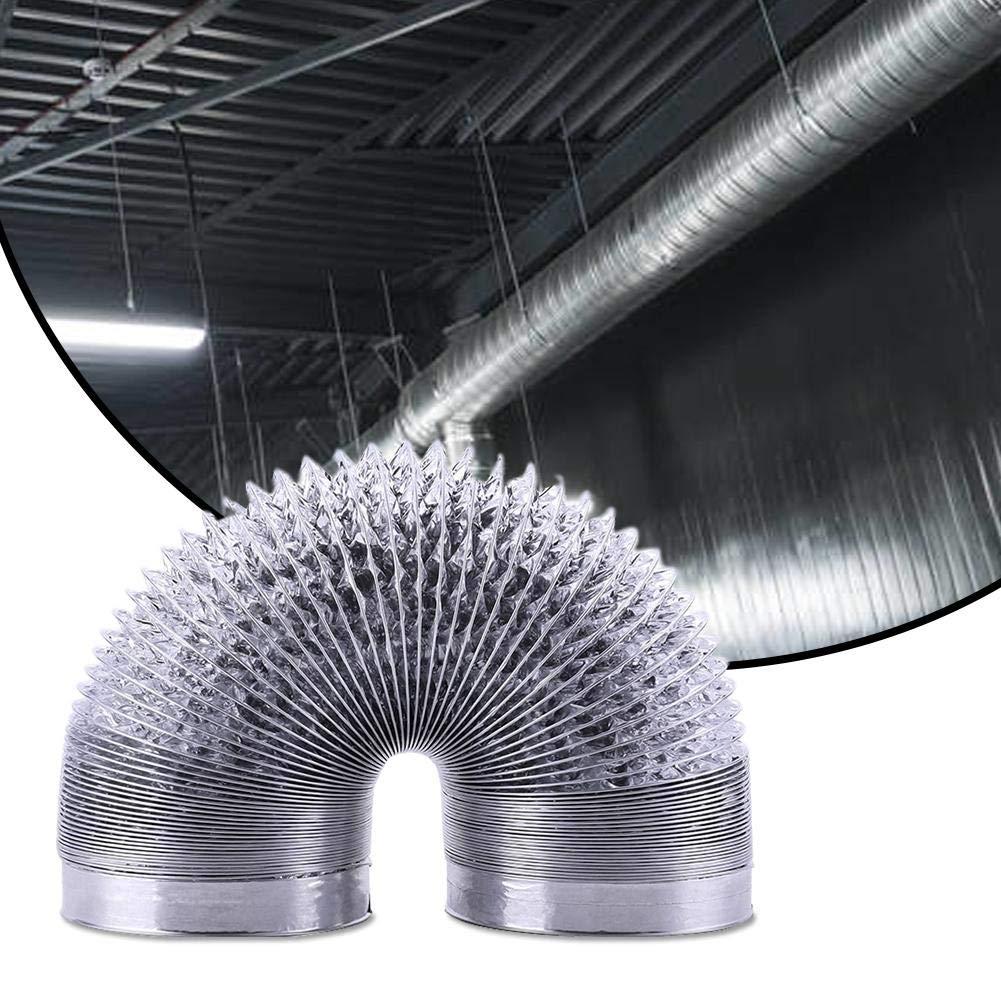 Jannyshop 6M Manguera de Aluminio de Una Sola Capa Manguera de Ventilaci/ón Flexible Cambio de Aire Tubo de Escape Tubo de Ventilaci/ón Engrosado