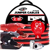 TOPDC Jumper Cables 2 Gauge 20 Feet -40℉ to 167℉ 450Amp Heavy Duty Booster Cables with Carry Bag (2AWG x 20Ft)