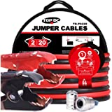 TOPDC Jumper Cables 2 Gauge 20 Feet 450Amp Heavy Duty Booster Cables with Carry Bag (2AWG x 20Ft)
