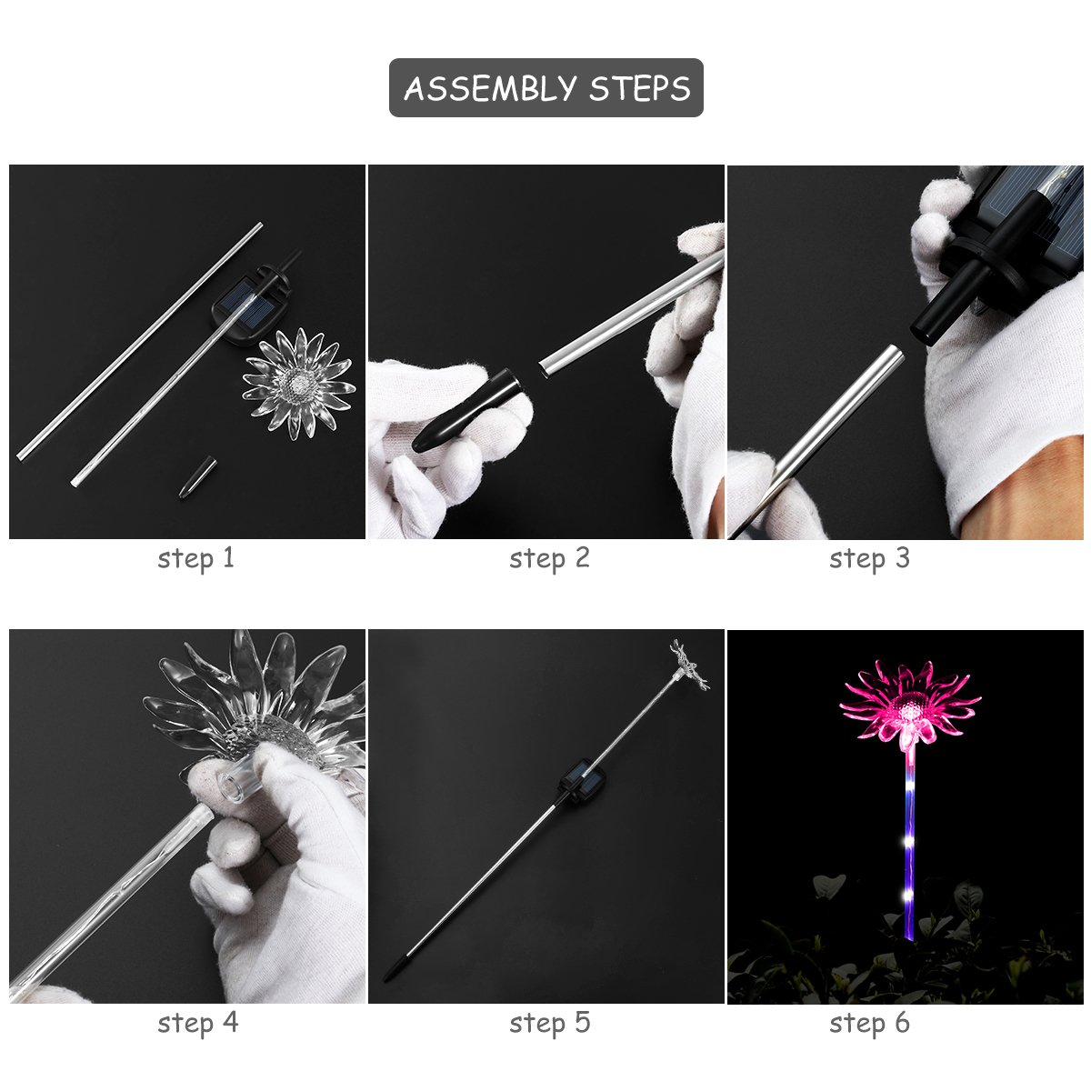 YUNLIGHTS 4pcs Solar Garden Lights Outdoor Garden Stake Lights Multi-Color Changing LED Solar Lights with Purple LED Light Stake for Garden Patio Backyard Decoration (Lotus,Dandelion,Lily,Sunflower) by YUNLIGHTS (Image #8)