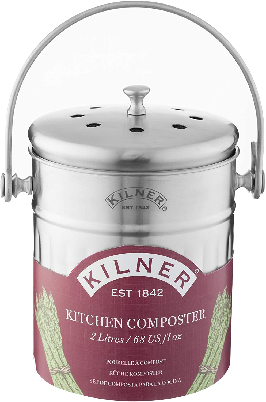 Kilner 0025.416 2 Litre Kitchen Composter, Silver