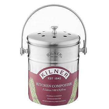 Kilner Komposteimer für die Küche, 2 l, silberfarben: Amazon.de ...