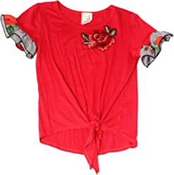 b9ed932cee95 Lily Bleu Girls Medium Rose Embroidered Front-Tie Shirt Red M