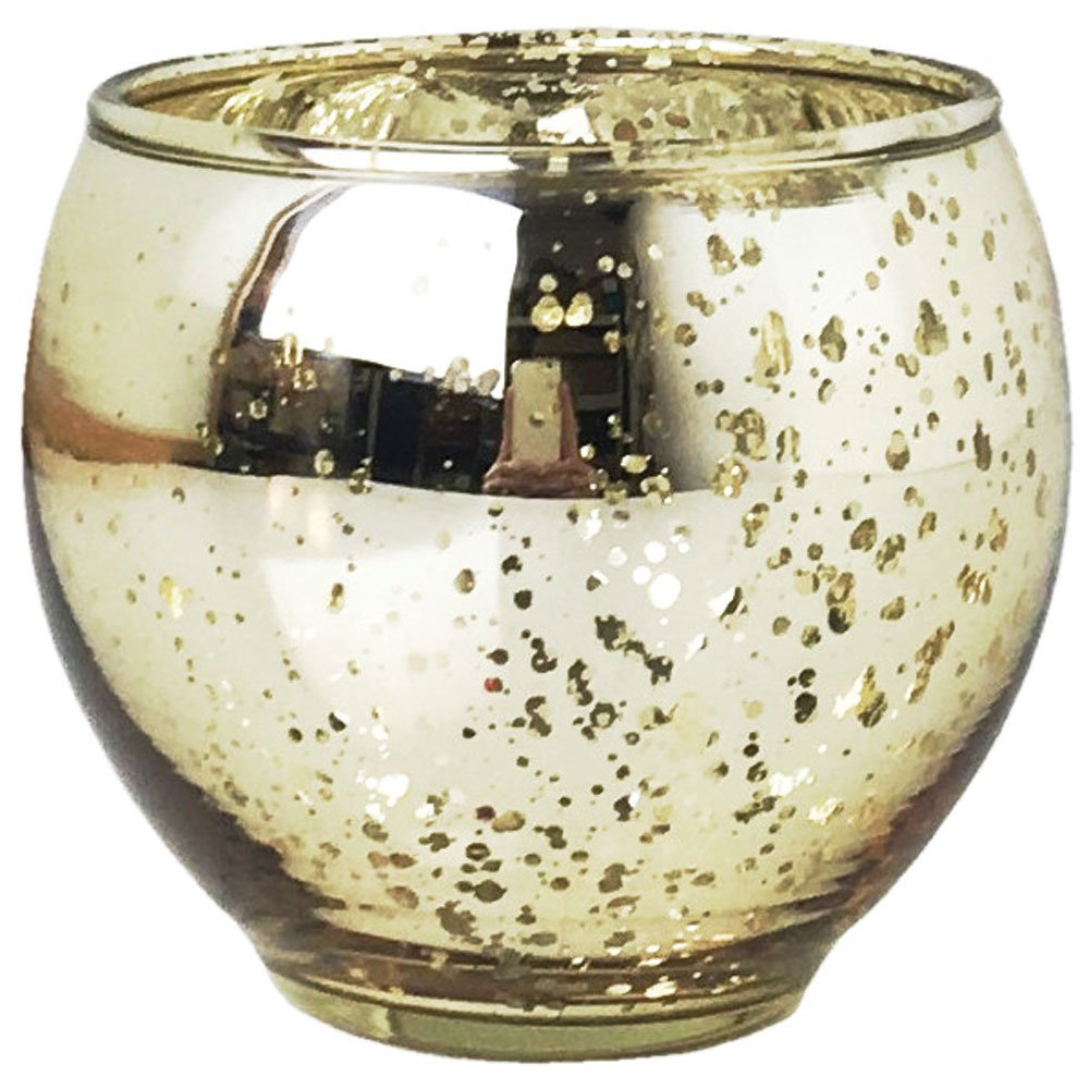 Just Artifacts Ovoid Mercury Glass Votive Candle Holder - 3 H - Speckled Gold - Glass Votive Candle Holders for Weddings and Home Décor JustArtifacts.net