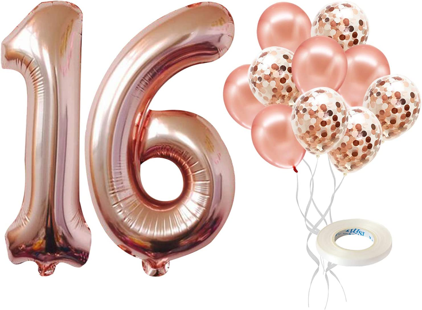 """16/"""" 30/"""" 40/"""" Numbers Letters Foil Balloons Rose Gold Self inflating Baloons Age"""