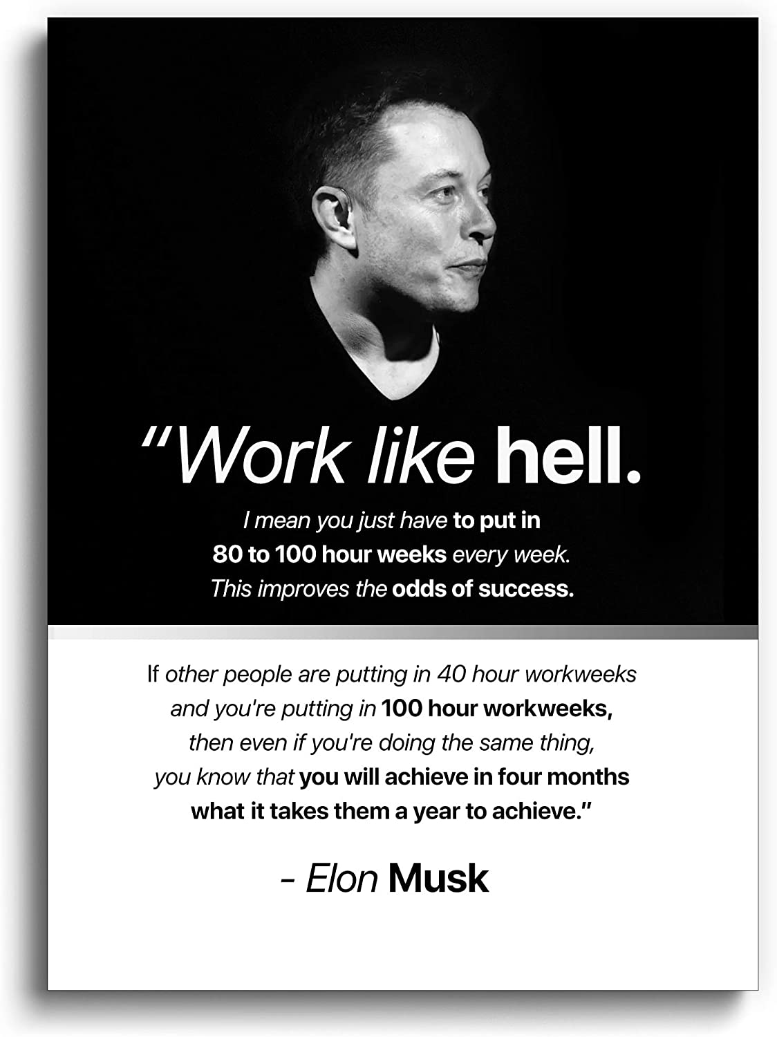 Large Motivational Poster with Elon Musk - (18''x24'' Inches) Premium Wall Art Decor for Home, Office, Living Room, Classroom, Bedroom, Dorm Room - Tesla merchandise, SpaceX merch, Neuralink - Mars - Entrepreneur Portrait and Quote - Inspirational Prints & Gifts - UNFRAMED