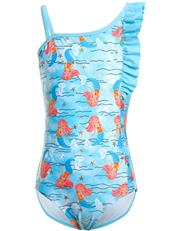 bf82d7b88c iDrawl Girls Unicorn One Piece Swimsuit Kids Cute Colorful Swimming Costume  Bathing Suit Age 4-