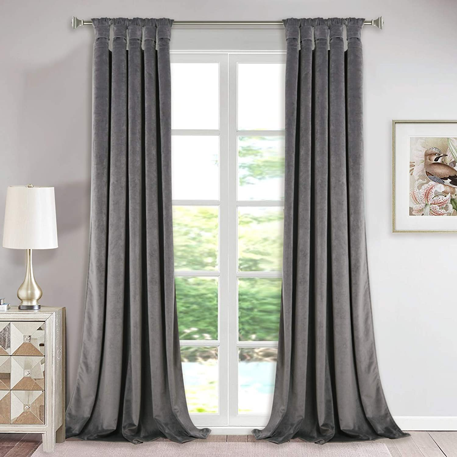 Extra Long Velvet Curtains Pair Super Soft Plush Velvet Drapes With Tab Top Knotted Design Room Darkening Curtain Panels For Living Room Sliding Glass Door Grey W52 By L108 Inch Set Of