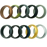 Keepfit Silicone Wedding Ring for Men - 10 Pack - The Ultimate Silicone Wedding Band Rubber Wedding Ring Set