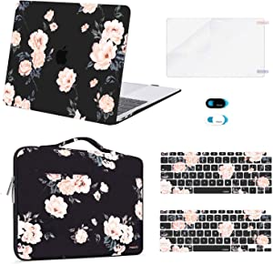 MOSISO Compatible with MacBook Air 13 inch Case 2020 2019 2018 Release A2337 M1 A2179 A1932 Retina Display Touch ID, Plastic Camellia Hard Shell&Bag&Keyboard Skin&Webcam Cover&Screen Protector, Black