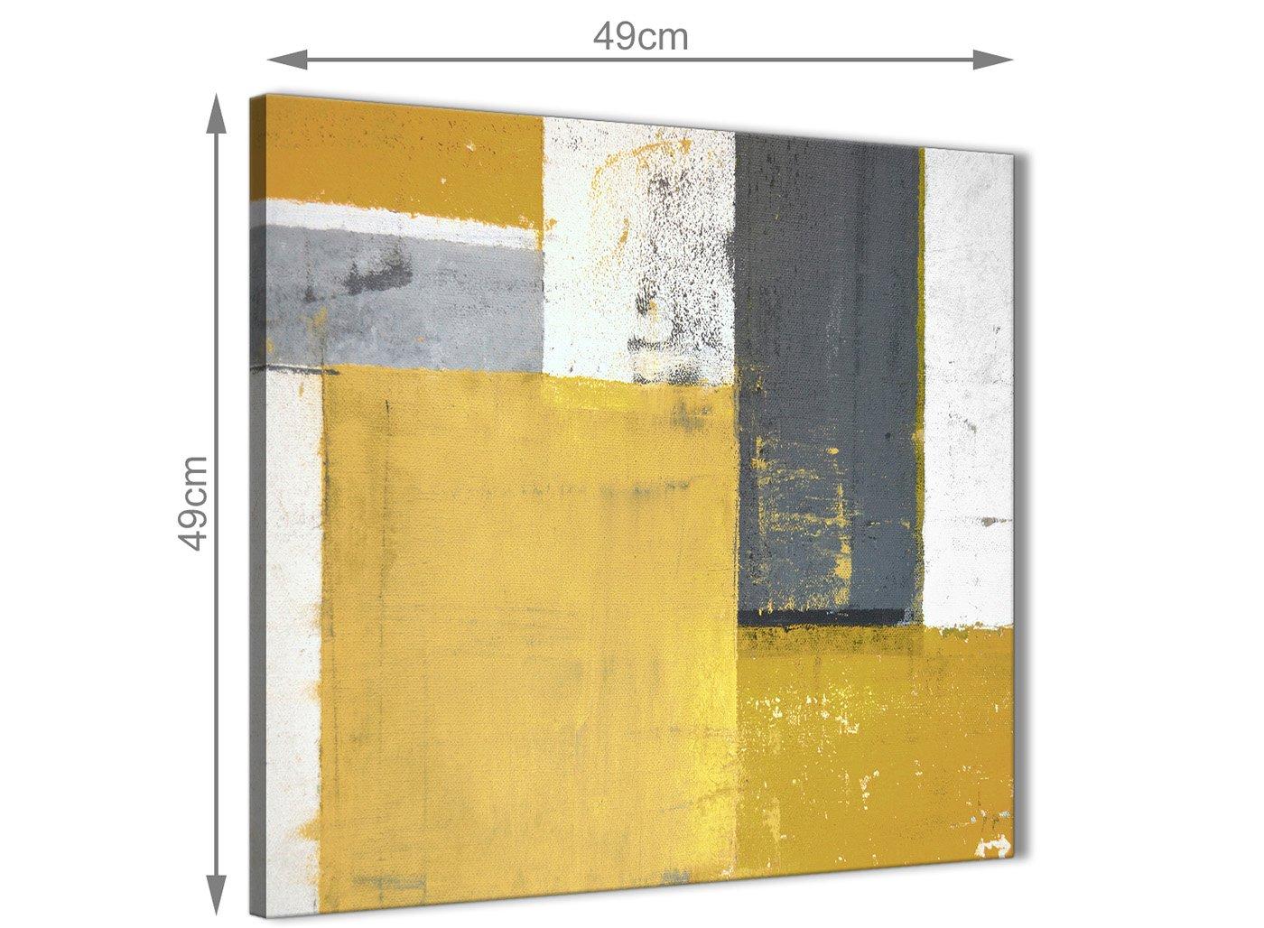 Mobel Wohnen Wandbehange 49cm Mustard Yellow Grey Painting Bathroom Canvas Wall Art Abstract 1s419s