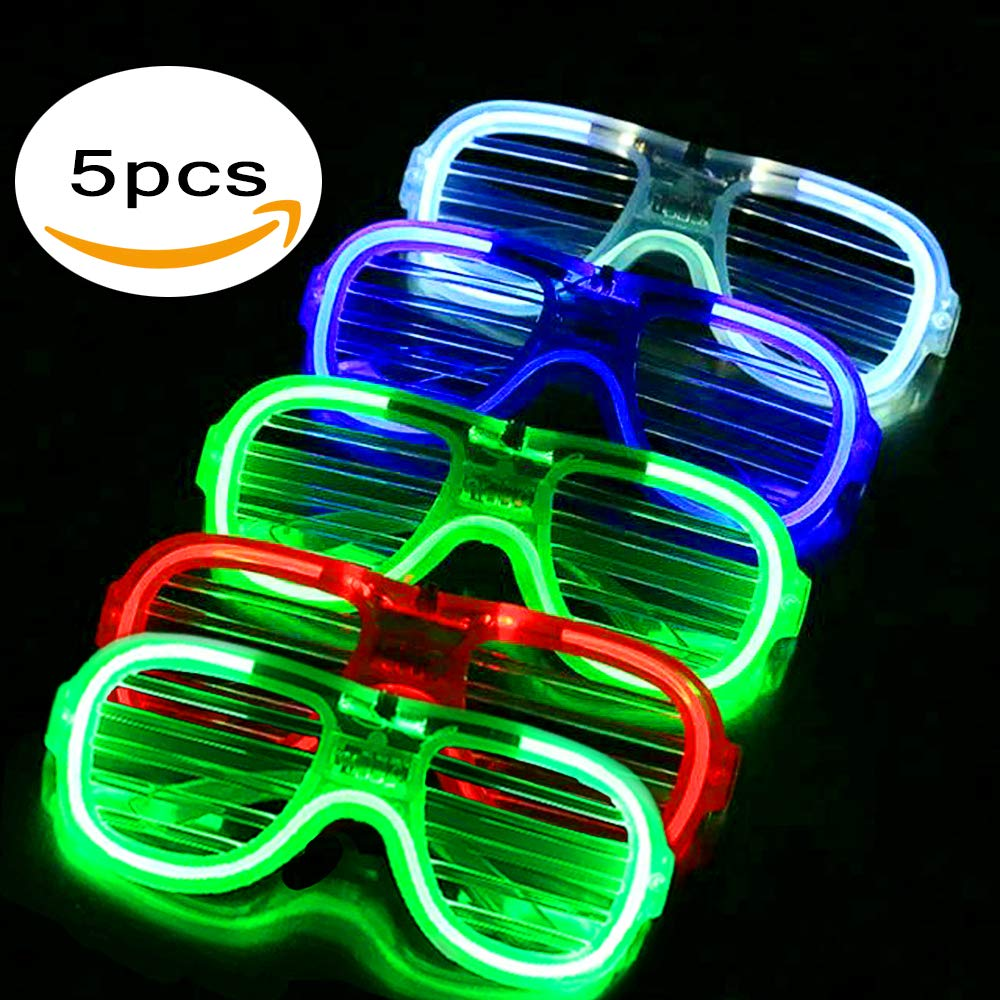 FYT 60 PCS LED Light Up Toys Glow In The Dark Party Supplies,Party Favors For Kids、Parents、Friends,With 40 LED Finger Lights+10 LED Lighted Rings+ 5 Bracelets+ 5 Flashing Slotted Shades Glasses by FYT (Image #6)