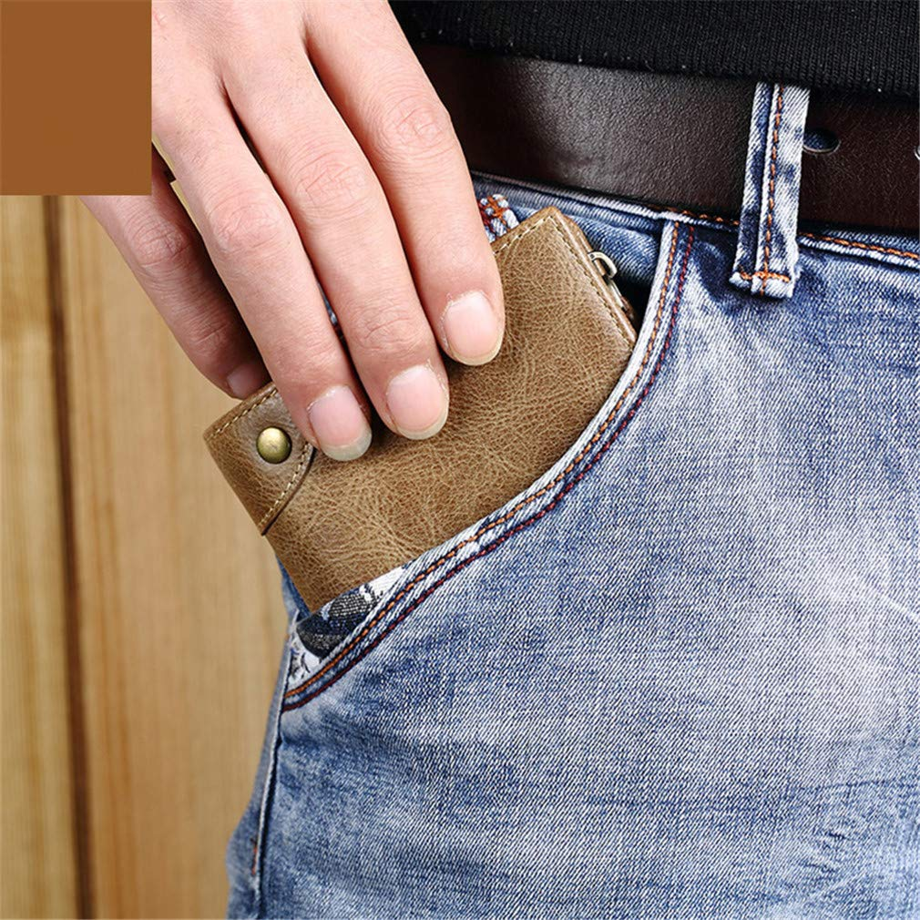 Vintage Wallets Male Purse Mens Leather Wallet Zipper Coin Purse Card Holder Male Bag