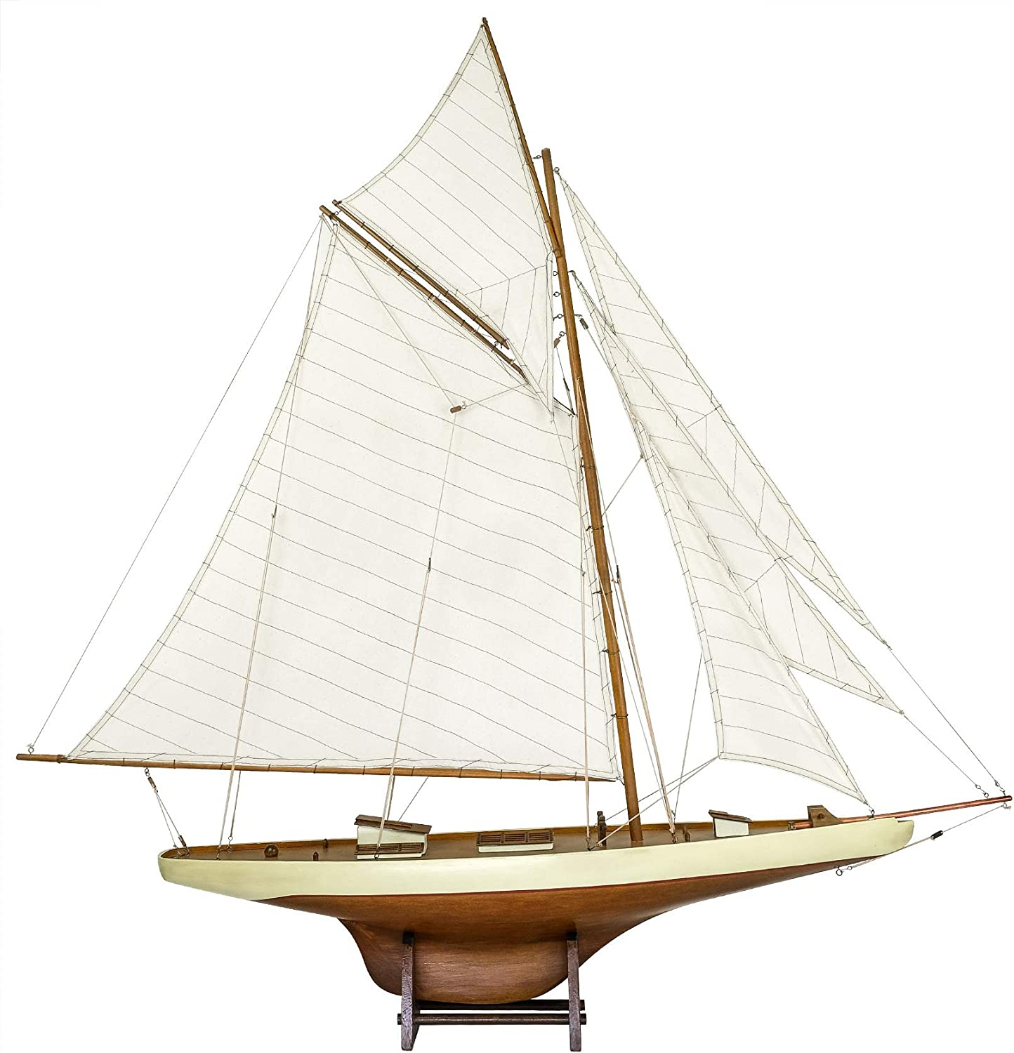 SAILINGSTORY Wooden Sailboat Decor Sailboat Model Ship America's Cup Columbia 1901 Large