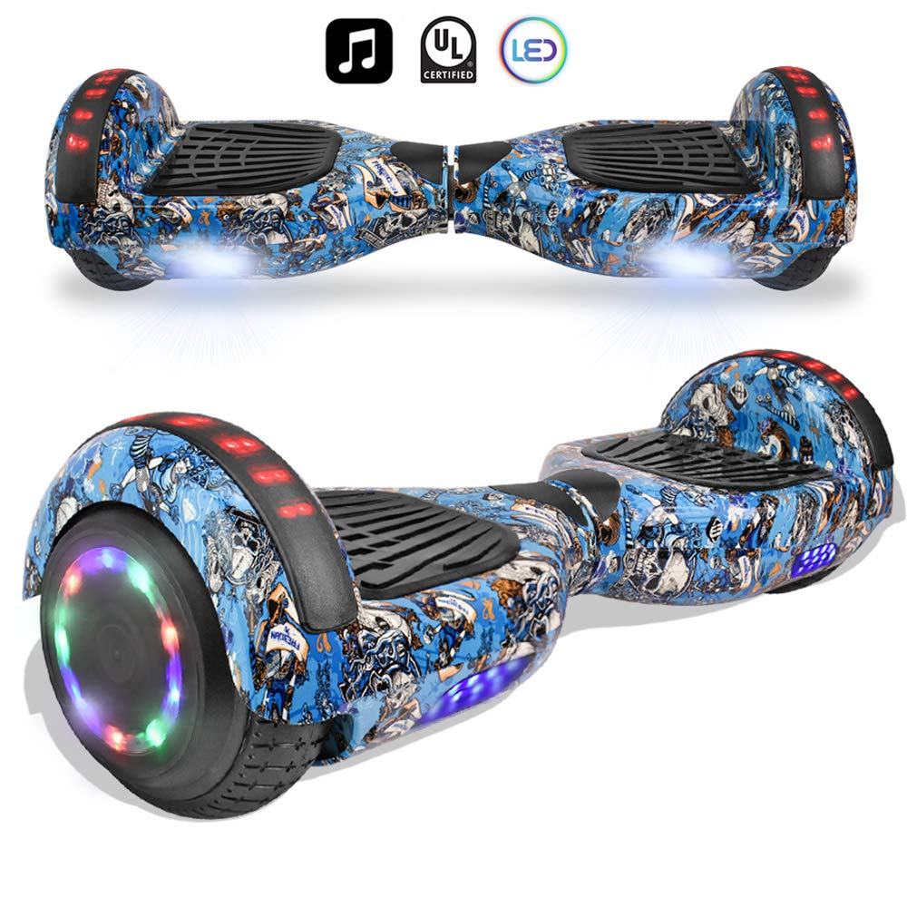 cho Electric Smart Self Balancing Scooter Hoverboard Built-in Speaker LED Wheels Side Lights- UL2272 Certified (-Blue Skull) by cho