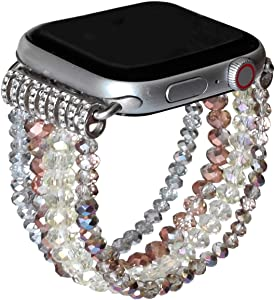 ZOOZOOT Crystal Smartwatch Band Compatiable for Apple Watch Band 38mm 40mm 42mm 44mm, Bling Shiny Glitter Crystal Charm Bracelet Watchband Wristband Replacement Strap for Series SE/6/5/4/3/2/1