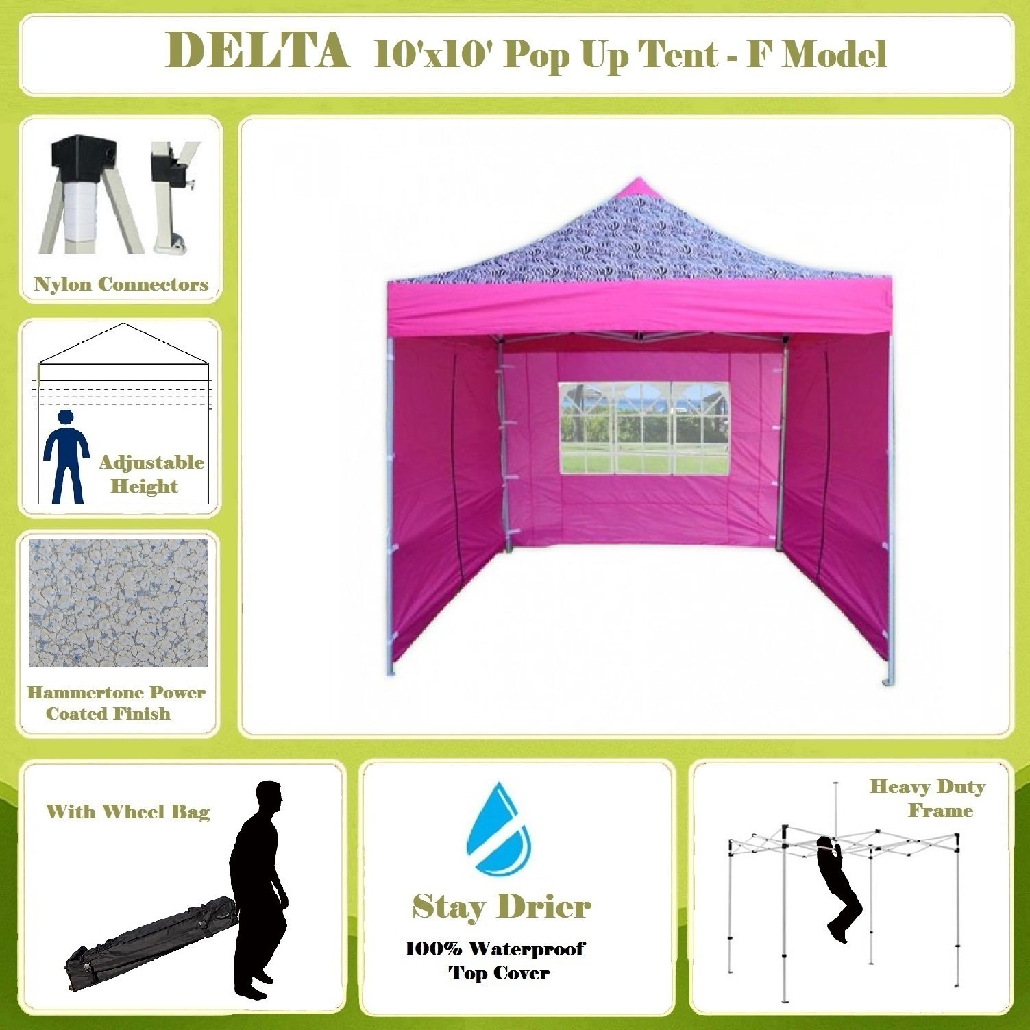 10'x10' Pop up 4 Wall Canopy Party Tent Gazebo Ez Pink Zebra - F Model Upgraded Frame By DELTA Canopies