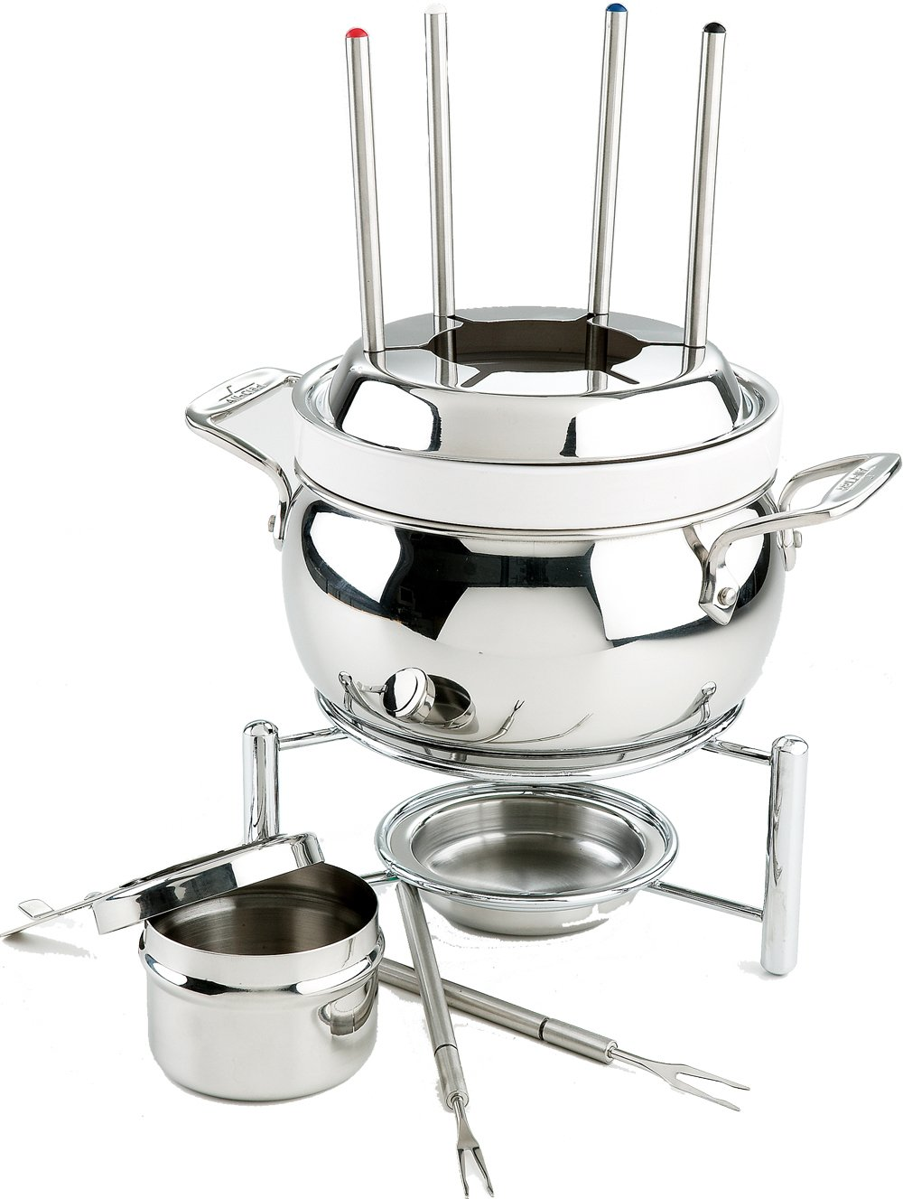 All-Clad 59936 Stainless Steel Fondue Pot with Ceramic Insert Cookware, Silver by All-Clad