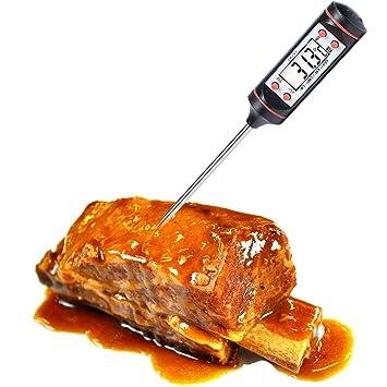 Termostato digital LCD con lectura instantánea para alimentos, carne, parrilla, barbacoa, leche, baño maría y cocina: Amazon.es: Hogar