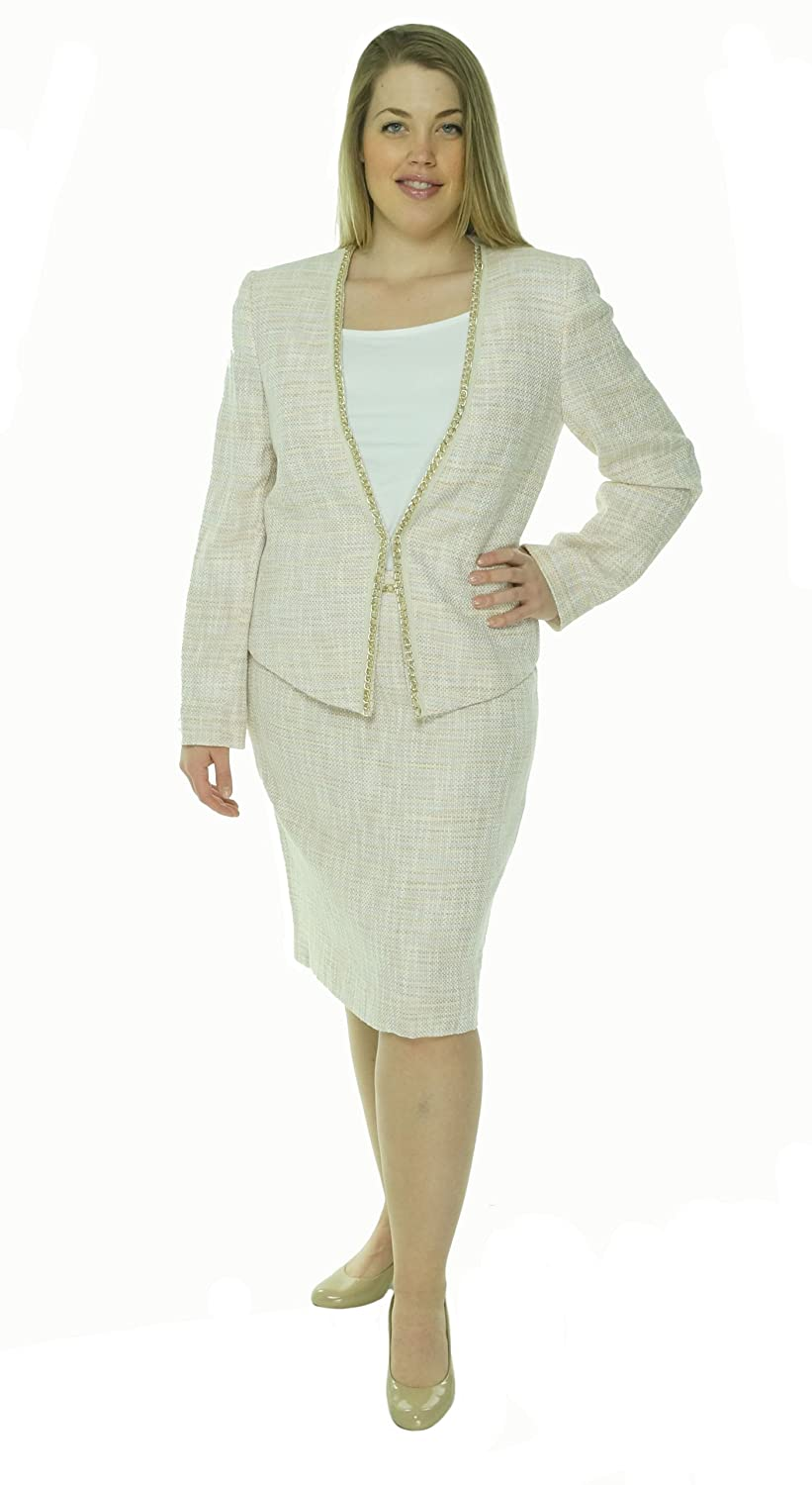 Tahari By ASL Sasha Pink Tweed Chain Trim Open Front Jacket