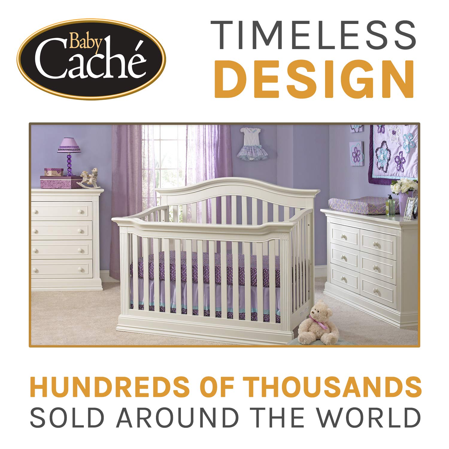 Baby Cache Montana Collection Natural Hardwood 6 Drawer Dresser | Lasting Quality & Design | Kiln-dried & Hand-Crafted Construction | 56'' x 18.5'' x 34'', Glazed White by Baby Cache (Image #5)