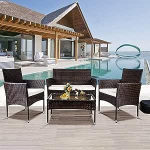 Recaceik 4 Pcs Rattan Patio Furniture Wicker Conversation Garden, Brown