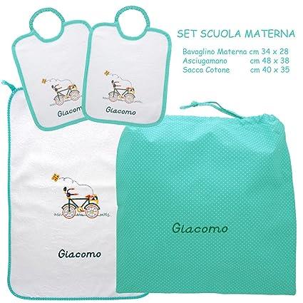 Asciugamani E Bavaglini Personalizzati.Coccole Set Asilo Scuola Materna Bicicletta Verde 4 Pezzi 2