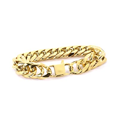 8643513d48354 Amazon.com: Solid 14k Yellow Gold Finish Stainless Steel 18mm Thick ...