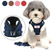 Zunea Small Dog Harness and Lead Sets No Pull Adjustable Reflective Step-in Soft Mesh Corduroy Vest Harnesses for Boy Girl Pet Dogs Puppy Chihuahua Cats Blue XS