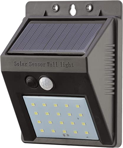20 LED Solar Powered Security Light – Waterproof and Comes with Built-in PIR Motion and Night Sensor – Lamp for Outdoor, Garden, Fence, Patio, Yard, Walkway, Driveway, Stairs, Outside, Wall, Garage
