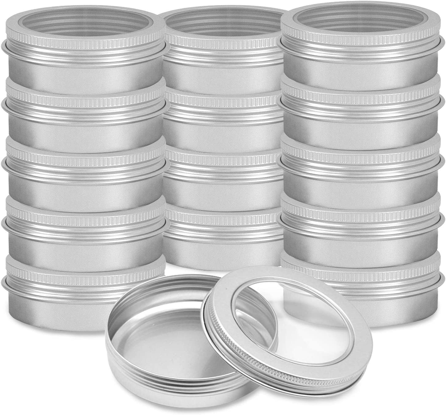 Lainrrew 15 Pack 2oz Metal Round Tins, Aluminum Tin Cans Containers Small Metal Tin Containers with Clear Top and Screw Lids for Spices, Candies, Candles (2oz)