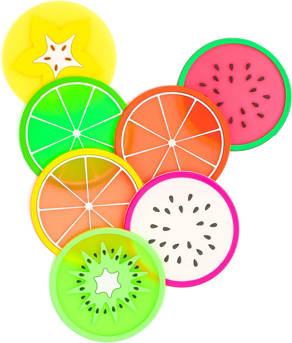 """Fruit Coaster, 7PCS 3.5"""" Non Slip Coasters Heat Insulation Colorful Unique Slice Silicone Drink Cup Mat for Drinks Prevent Furniture and Tabletop by BmStar"""