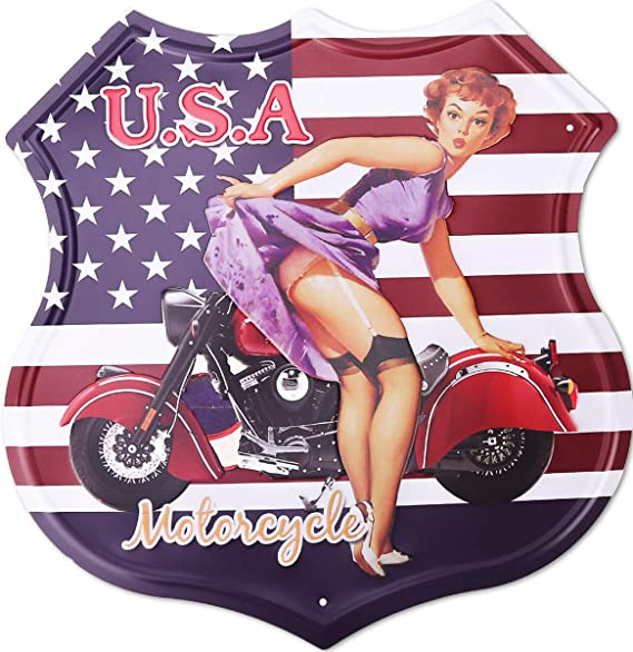 hantajanss Route 66 Signs Metal Vintage USA Motorcycle Tin Sign for Home Decoration 12 Inches