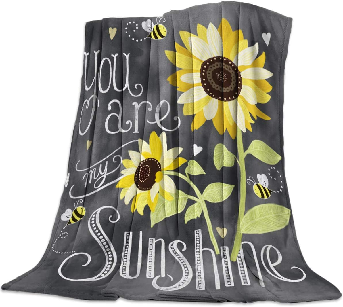 Cozy Flannel Blanket for Couch/Bed/Travel 50 x 80 Inches, You Are My Sunshine Special Font and Sunflower Art Design - Luxury Soft Warm Plush Microfiber Throw Blanket for Children/Parents Decor&Gift