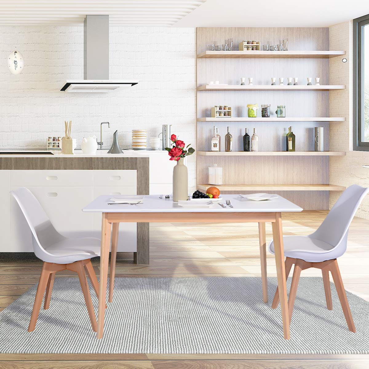 GreenForest Dining Table Mid Century Modern Rectangular Kitchen Leisure Table with Solid Wooden Legs 47.2'' x 27.6''x 30'', White by GreenForest (Image #3)