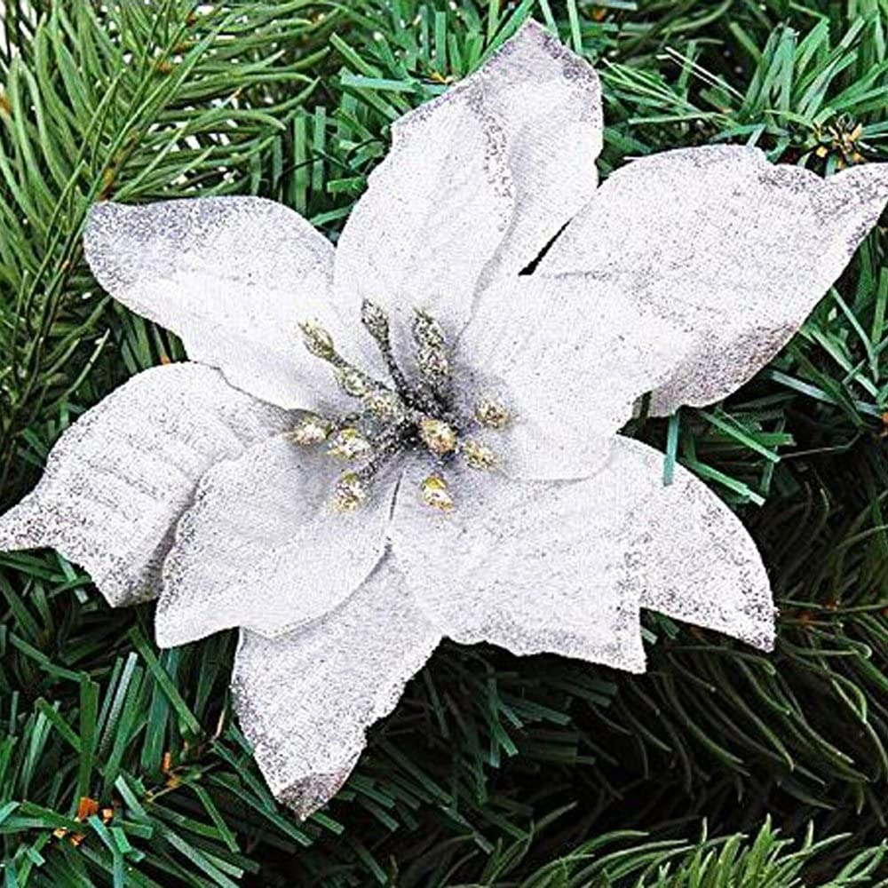 10 colgantes para /árbol de Navidad Asdomo Blanco flores de colores brillantes con flocado para adornos de Navidad decoraci/ón de bodas seda sint/ética 13 cm 10*13cm