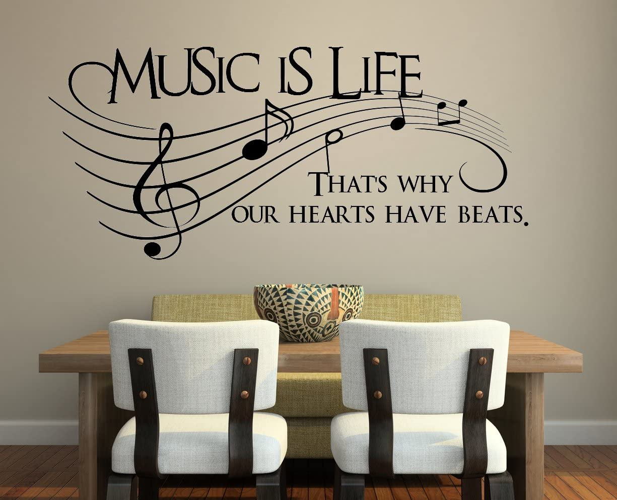 """Vinyl Wall Art Decal - Music is Life. That's Why Our Hearts Have Beats - 42"""" X 18"""" - Modern Cool Musical Design Quote for Home Apartment Bedroom Living Room Office Workplace Classroom School Decor"""