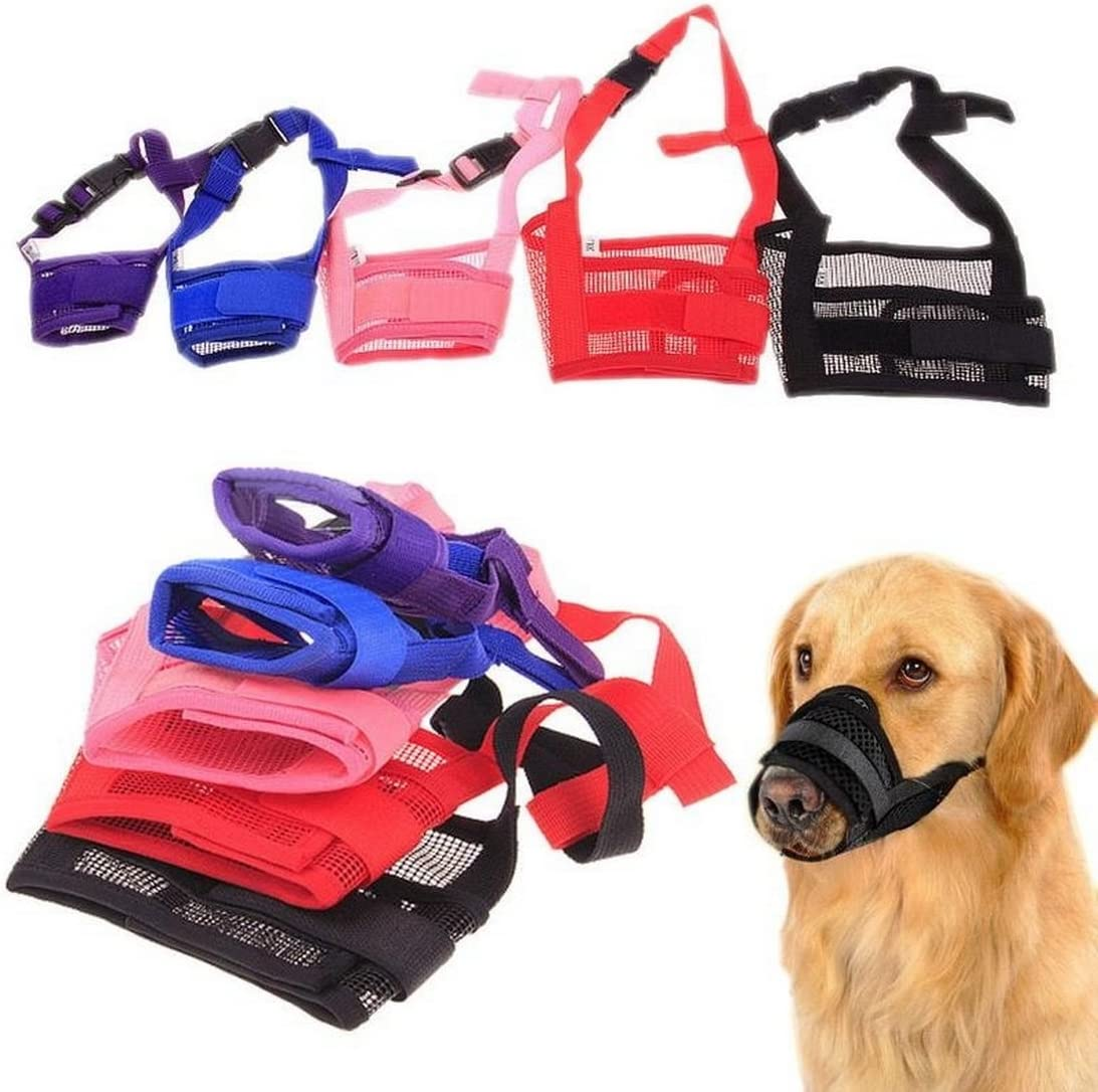Hoomall Adjustable Mesh Soft Fit Dog Muzzle//Safety Pet Dog Mouth Set Purple S