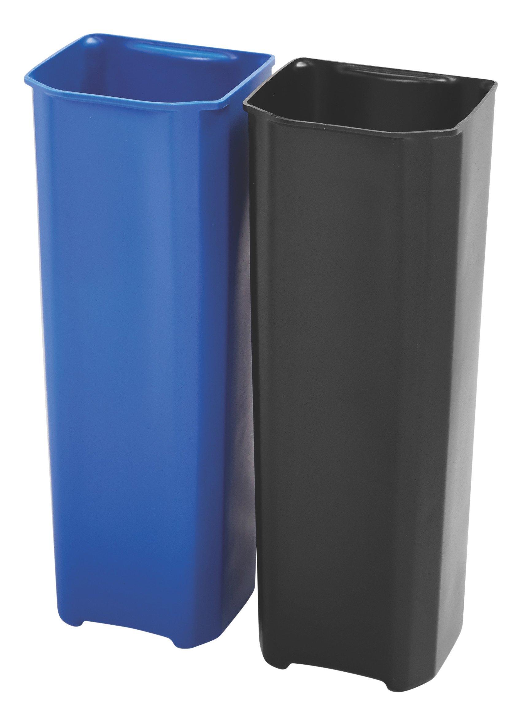 Rubbermaid Commercial Slim Jim End Step-On Trash Dual Rigid Liner Set, Metal, 13 Gallon, Black/Blue