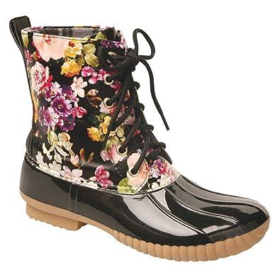 Amazon.com | Women's Rosetta Floral Mid-Calf Duck Rain Boots | Mid ...