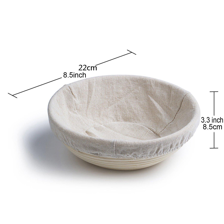 Banneton Panier /à pain rond 21,6 cm 2 pi/èces en rotin naturel fait main et doublure en lin