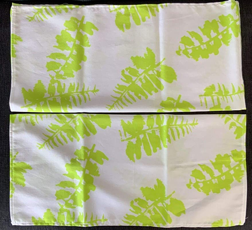 NEW COTTON VOILE NAPKINS TOWELS SET of 6 HANDMADE 19 X 18-TROPICAL PATTERN in WHITE /& CHARTREUSE